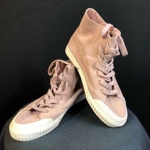 Pink high-top suede sneakers - worn once!